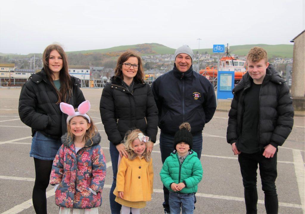Back row: Alecia Bell, Lesley Mullen, David Mullen and Craig Bell. Front: Amara, Aria and David Mullen. Photograph: Kenny Craig.