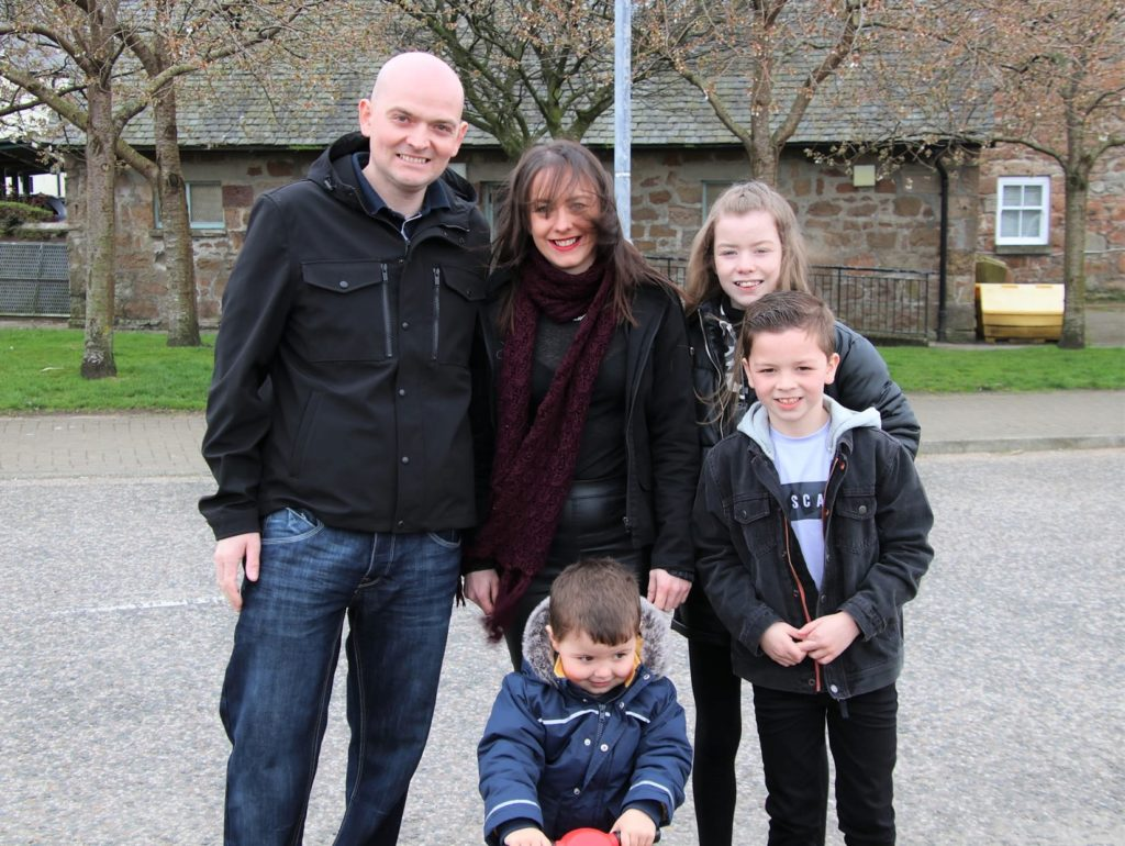 Kevin and Emma Borthwick with their children Freya, Dylan and Connor. Photograph: Kenny Craig.