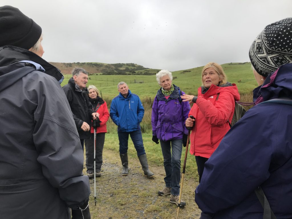 Elizabeth Marrison, second from the right, gives the history of Keil to Elizabeth McTaggart, the society's president Dr Sandy McMillan, Linda Peacock, John Marrison, Alison Fox and Hilary Lord during a society excursion.