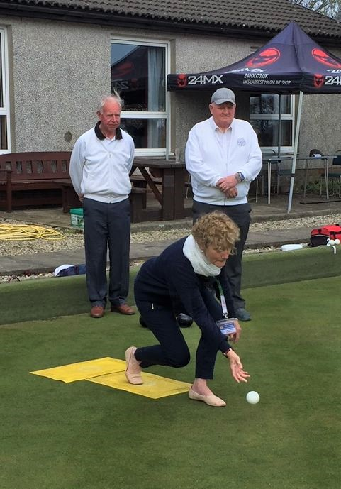 Jean McLachlan rolled the first jack at Argyll Bowling Club.