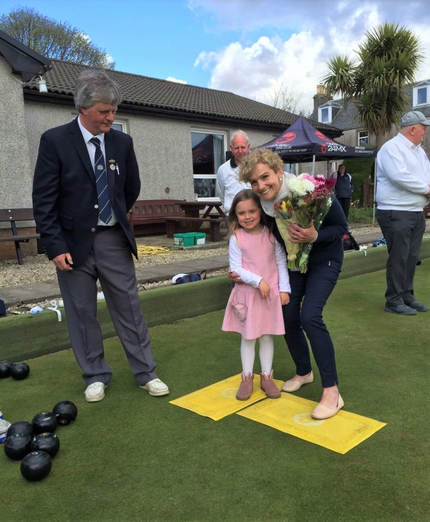 Argyll Bowling Club president John McLachlan with his wife Jean and their granddaughter Evie Sinclair.
