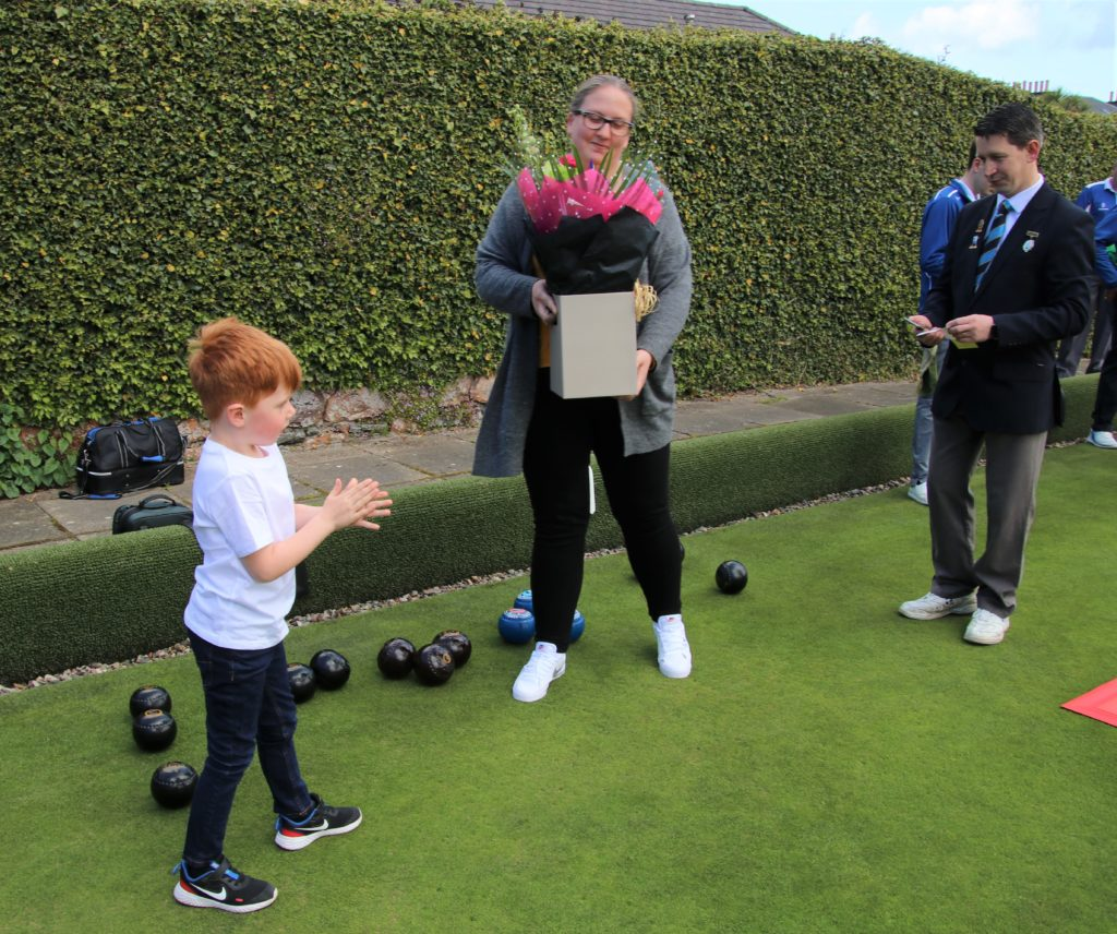 From left: Ross MacSporran, Frances Brown and Campbeltown Bowling Club president David Brown.