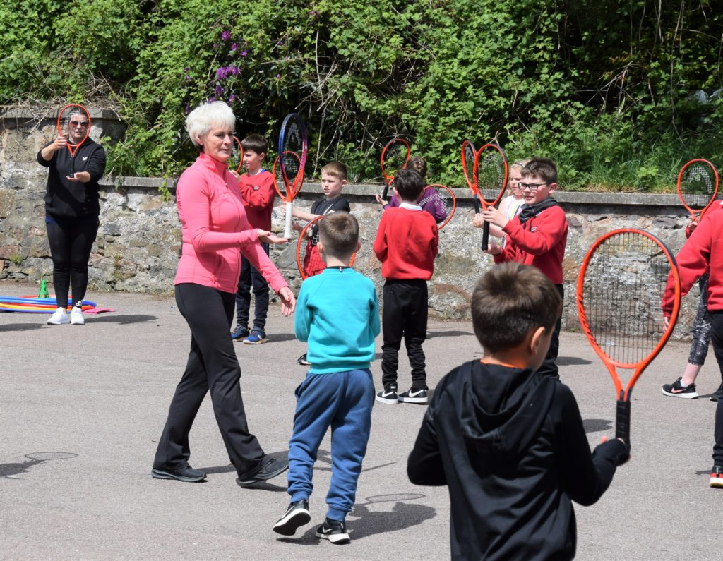 Judy Murray challenged pupils at Dalintober Primary School through various tasks.