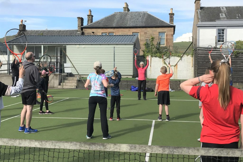 Judy Murray in action at Campbeltown Lawn Tennis Club's parent and child session.