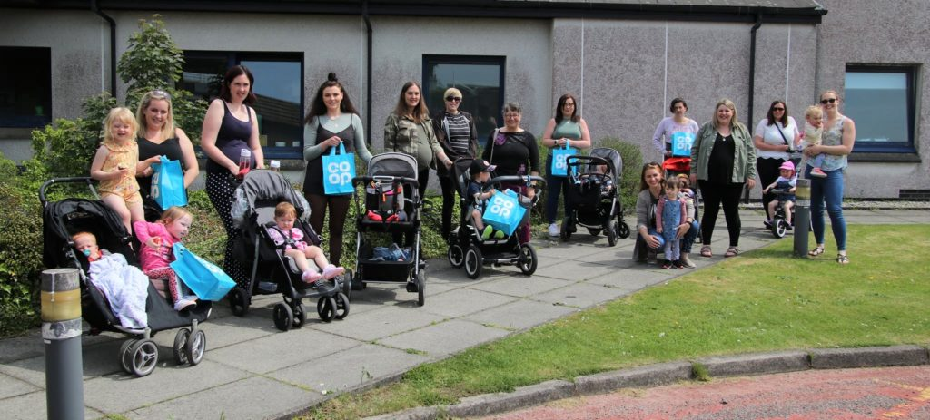 Some of the mums and babies who went on the MOK walk.