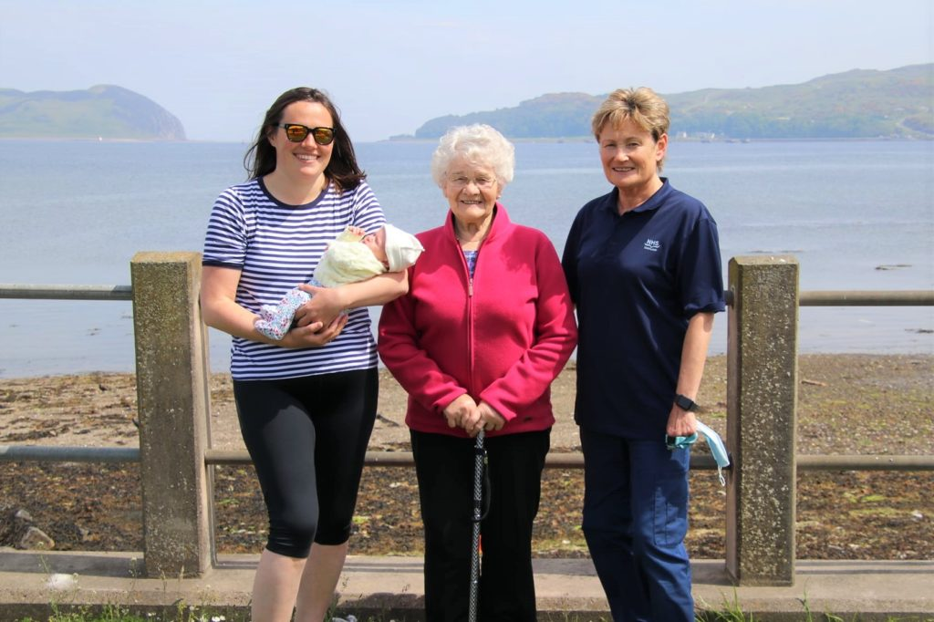 Four generations: Midwife Isabel Cook, right, was joined by her mother Margaret Anderson, centre, and her daughter Eilidh Girvan and new grand-daughter Ava Girvan, left.