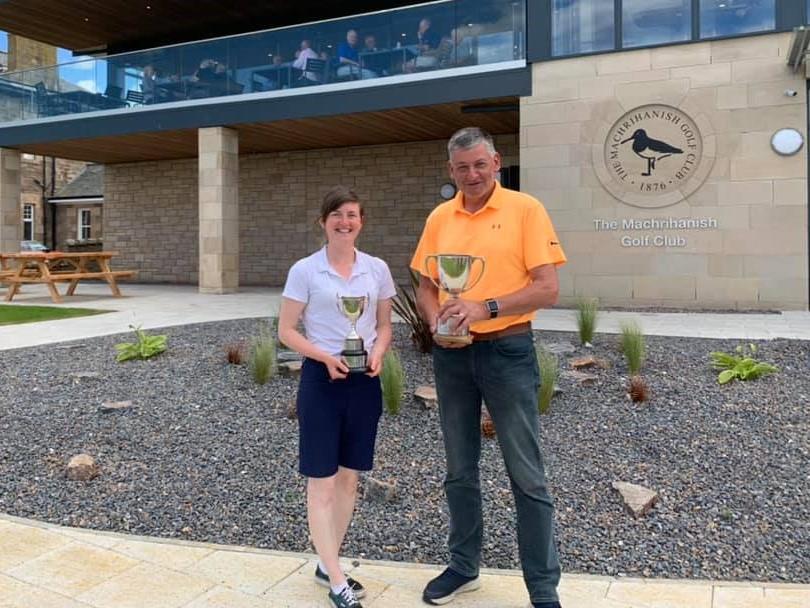 Ladies' champion Lorna Ralston and gents' champion Stuart Campbell.