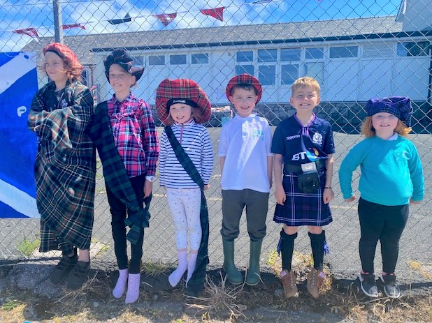 The youngsters wore traditional Scottish garb as they took part in their own Highland Games event.