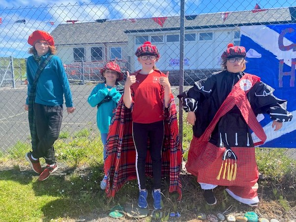 Tartan and tam o' shanter hats added to the atmosphere at the Glenbarr Primary School Highland Games.