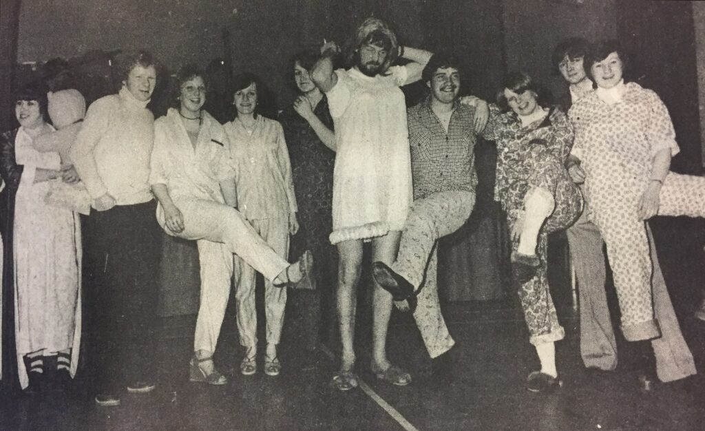 These people in pyjamas were photographed in Tayinloan Village Hall during a Largieside Junior Agricultural Club event.