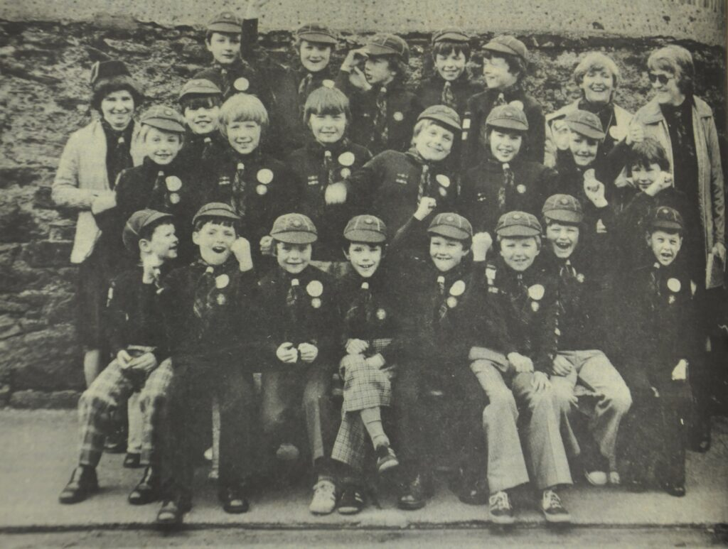 The members and supervisors of Davaar and Dalriada Cub Scouts before leaving to rough it in the wilds of Glen Lussa during a weekend excursion.