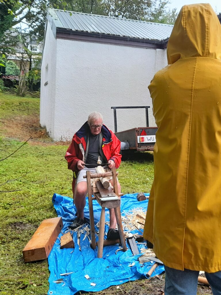 Peter Simson gave fascinating demonstrations on green woodworking.