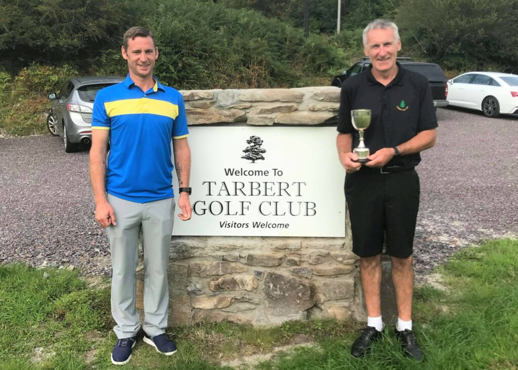 Nett winner John MacNab with club captain Kenny MacFarlane.