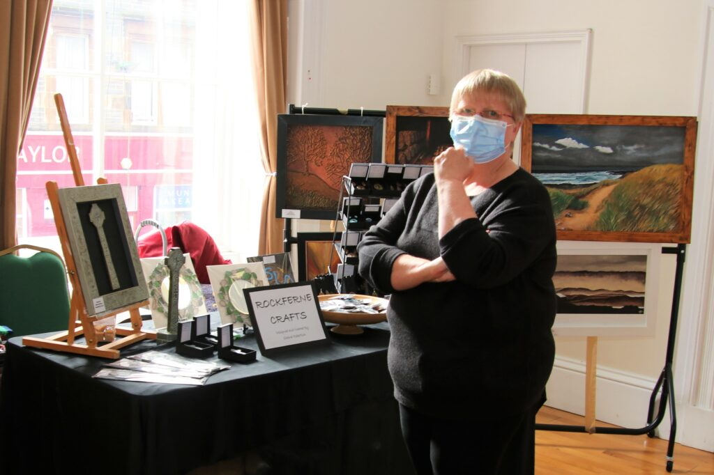 Sheena Robertson of Rockferne Crafts with some of her locally inspired artwork and jewellery.