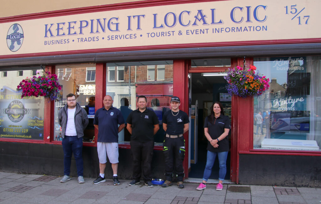 From left: Jamie Field, Kintyre Printing Services; Jason McCallum, Keeping It Local business development manager; Robert Irvine, Kintyre Cycling Services; Bradley McMillan, town centre maintenance officer; and Tracy Chambers, Keeping It Local director.