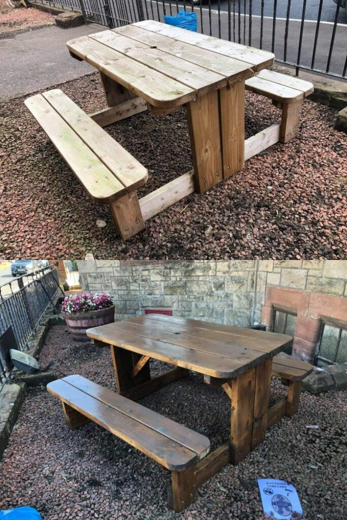 Before and after: Campbeltown Picture House's benches outside the Burnet building are among those which have been treated.