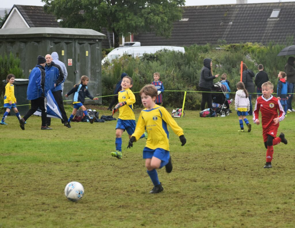 This Lochnell FC player was on the ball.