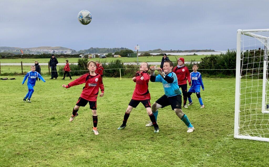 Action from Port Ellen FC Juniors and Tarbert Soccer Centre.
