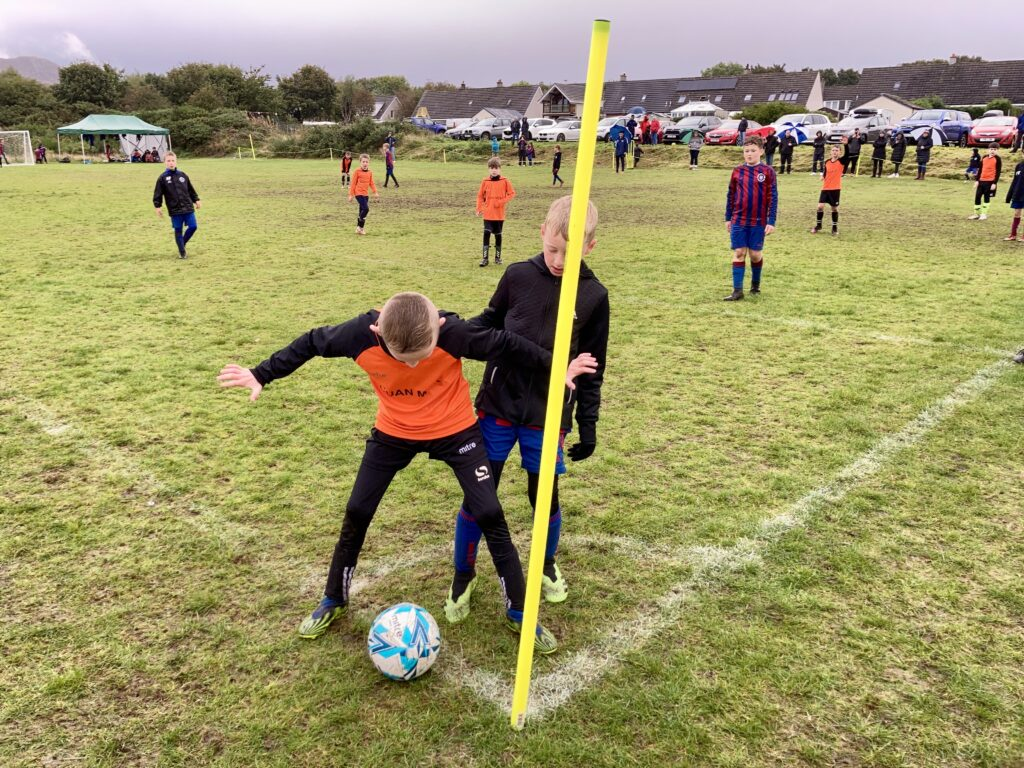 This Oban Saints player is not for giving up the ball.