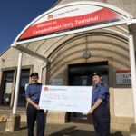 Campbeltown Sea Cadets Ellie Lowrie, left, and Beth MacPherson with their CalMac Community Fund cheque.