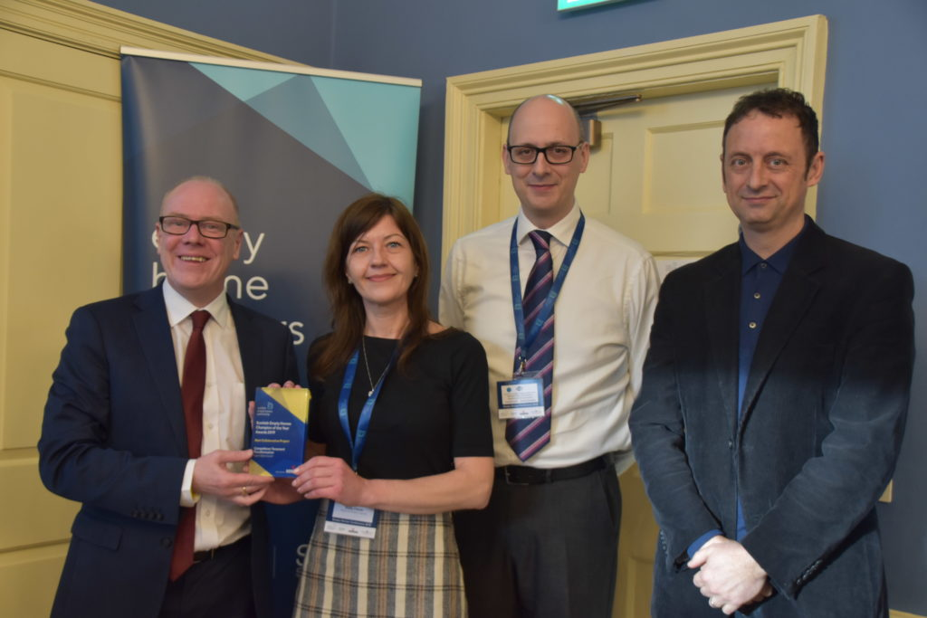 Housing Minister Kevin Stewart, Kelly Ferns of Argyll and Bute Council, Phil Hanson of sponsors Howdens, and TV presenter Matt Allwright.