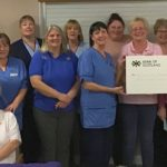 Crafters and members of the community care team at the cheque presentation are, from left, back row: Morag Johnston, Margaret McShannon, June McMillan, Lorna Robertson, Vikki Mcaulay and Sandra Sloey. Middle: Mari Brown, Andrina Mcaulay, Jacqueline McGougan, Kate O'May, Jessie MacPhail and community nursing team lead Caroline Henderson. Front: Marjorie Lang.