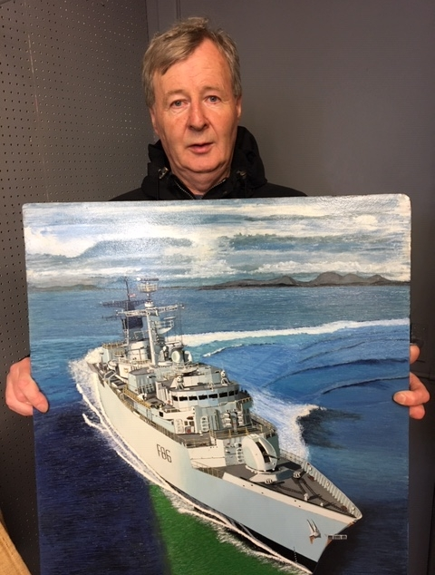 Artist Billy McTaggart with the painting won by Vice Admiral Sir Alan Massey.