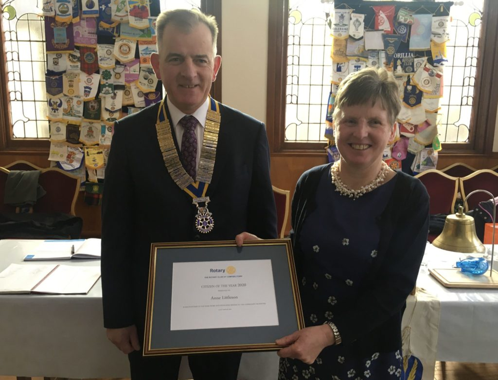 Citizen of the Year, Anne Littleson, right, with Rotary Club of Campbeltown president Andrew Ronald.