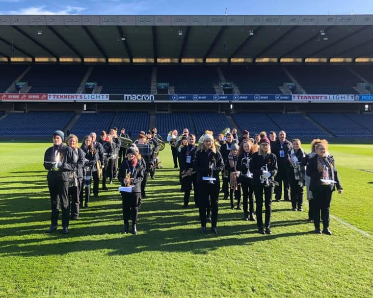 Campbeltown Brass during the band's soundcheck at Murrayfield Stadium.