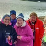 From left, the dippers were: Su Black, Emma Macalister Hall, Danni Goldsack, Judith Jones, Amanda Curley and Trish Collins.