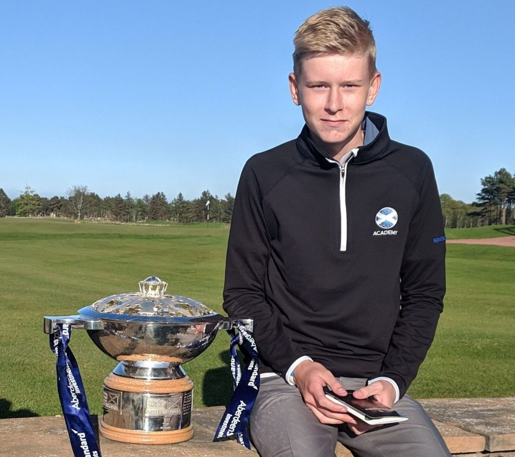 Valdemar Hundebøll after winning Lothian Secondary School's order of merit at Renaissance in April 2019, carding two eagles and his first ace on the final day.