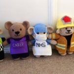 The five key worker teddies Sarah has crocheted so far.