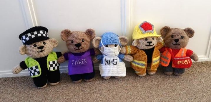 Sarah crochets key worker bears for the NHS