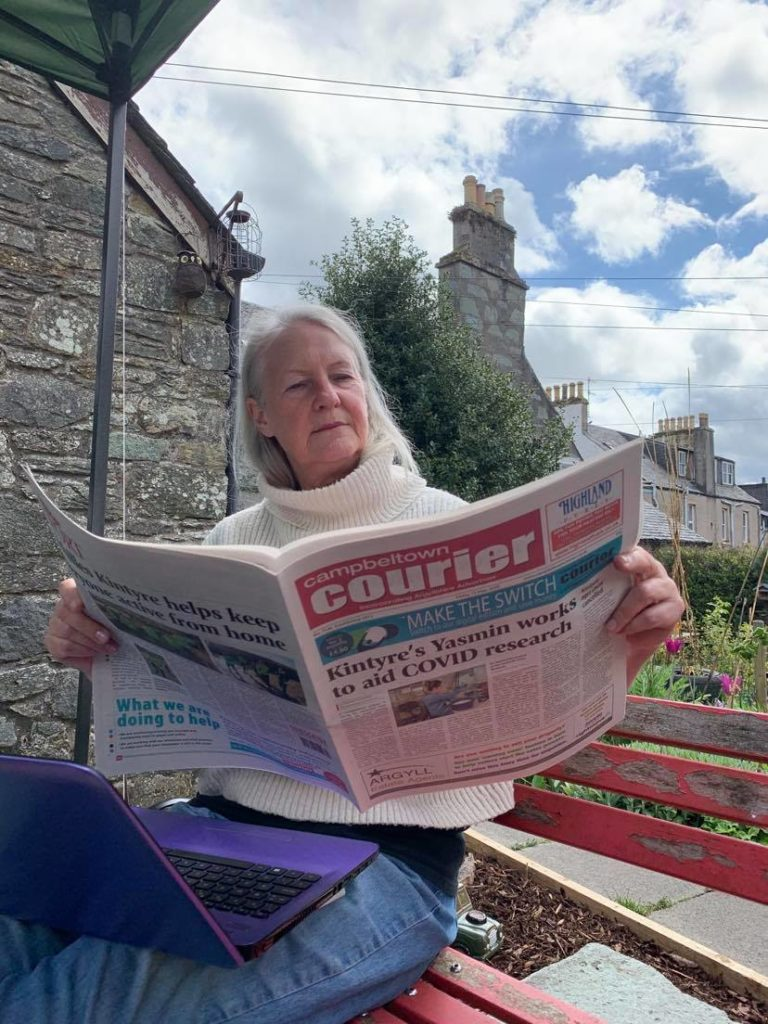 Fiona Wallace sits down with a copy of last week's Campbeltown Courier.