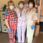 Jenny Dosser, Anne-Marie Harper and Alice McCallum, care assistants at Lorne Campbell Court, have had an injection of colour into their working wardrobe