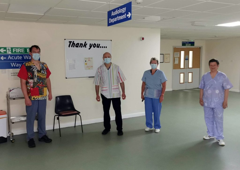 Staff at Campbeltown Hospital wearing scrubs from the Let's Get Scrubbing group.
