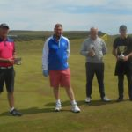 From left: Senior champion Donald McNeill, acting club captain Raymond Harvey, handicap champion David MacBrayne, and club champion George MacMillan.