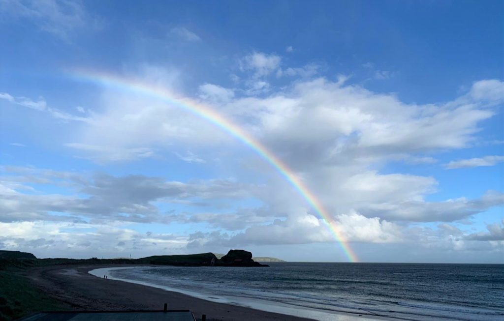 This atmospheric photograph showing a rainbow arching over Dunaverty Rock was taken by 12-year-old Cara Hay during a visit to Southend on July 5.