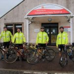 Retired rugby internationals Ruaridh Jackson, Ryan Grant, Andrew Easson and Richie Vernon who cycled the 234 mile Caledonia Way from Campbeltown to Inverness. Photograph: Kenny Craig.