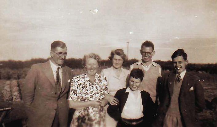 From left: Douglas Fernie, Mrs Carmichael, Isobel Fernie, Charles King, Mr Carmichael and John Russell.