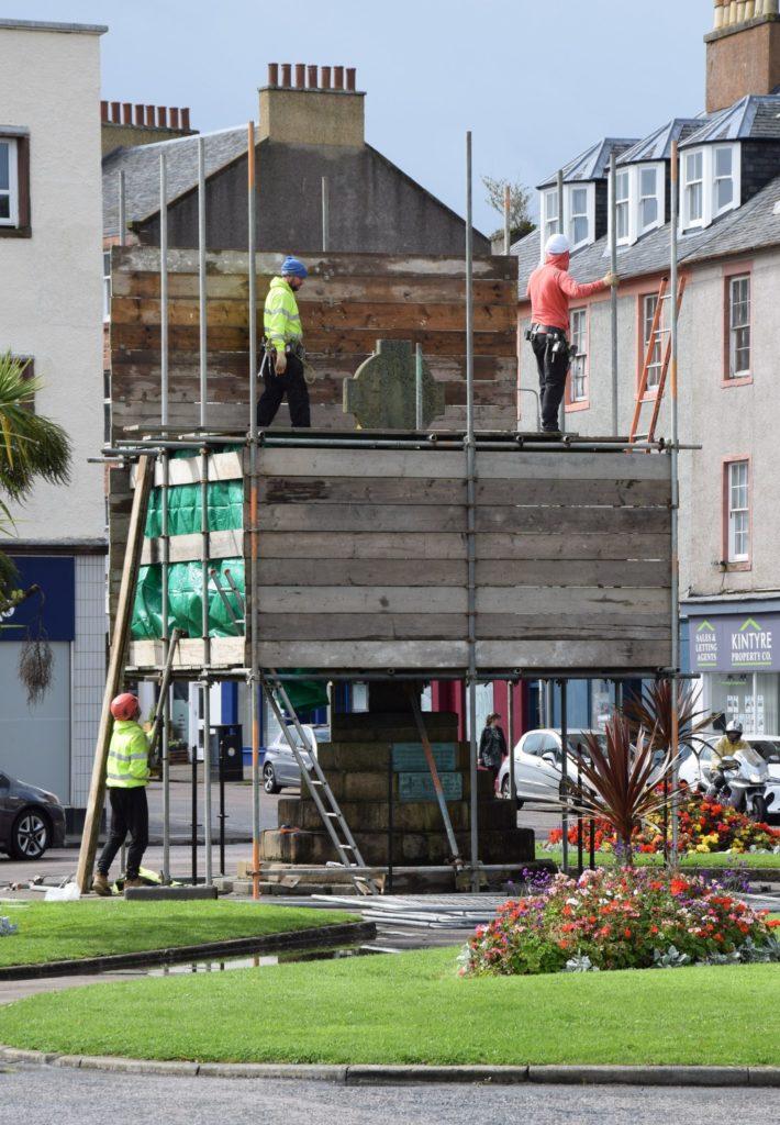 Scaffolding was erected around Campbeltown's 14th century cross last Saturday.