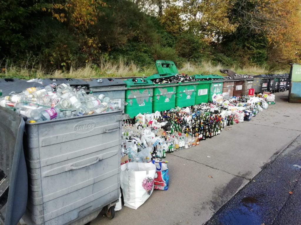 Bottles are piled up on Monday at the recycling point in Tesco car park in Oban.