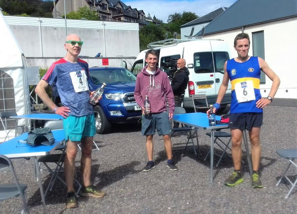 Top three men's finishers, from left: third placed Nicholas Gemmell, winner Kieran Cooper and second placed Calum Oates.