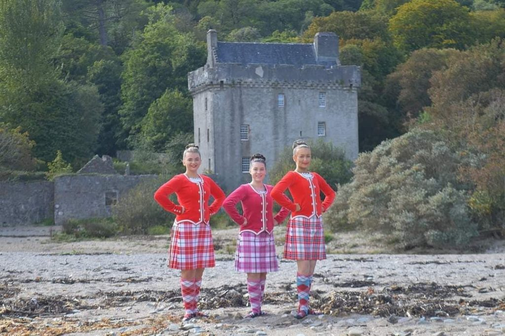 From left: James McCorkindale School of Dancing members Erin Binnie, Lisa McKellar and Solana McMurchy during their photo shoot on Saddell Beach.