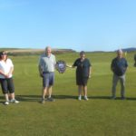 David MacBrayne and Linda Arkell, winners of Dunaverty Golf Club's Mixed Pairs competition, centre, with second placed Steven Garrett and Susan McLennan, left, and third placed Donald Brown and Sophie Garrett, right.