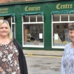 Rebecca Harvey, left, and Ailie MacBrayne outside the Courier Centre shop.