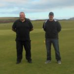 Dunaverty Golf Club vice-captain Graeme McLennan, left, with David Scullion following the presentation.