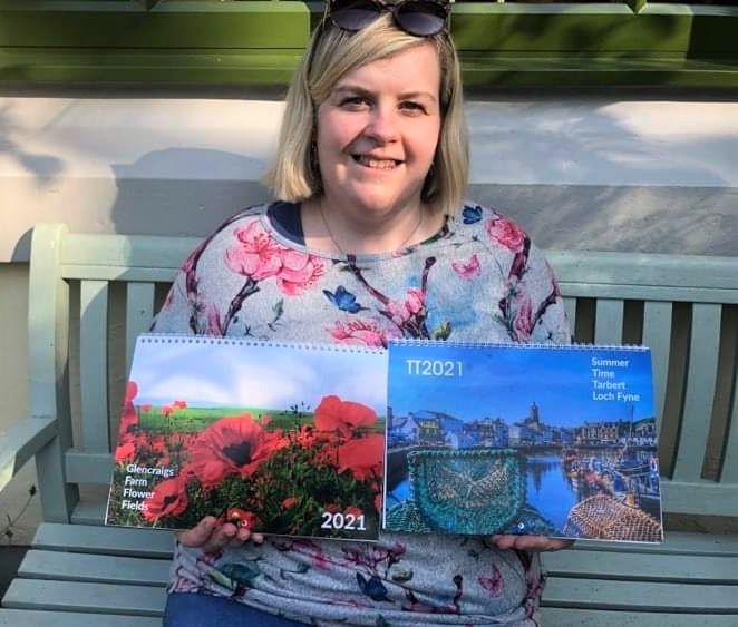 Aileen Gillies with her Glencraigs Farm calendar, left, and Tarbert calendar, right.