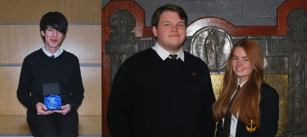 Caius Walker, winner of Campbeltown Grammar School's 2019 dux prize, left, and the new school captains Richard Semple and Brodie MacLaren, right.