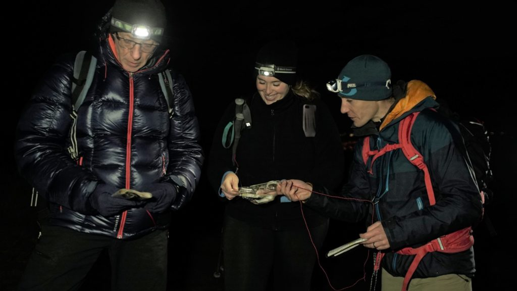 While navigating off a hill in darkness, headtorches are an essential piece of kit. Photograph: Paul Diffley.
